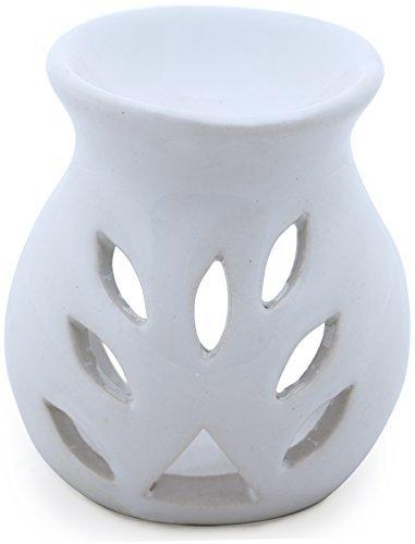 SouvNear 9,1 cm Fait à la Main Blanc Céramique à Essentiel Huile Diffuseur / Huile Brûleur / Votive Porte-Bougie / Lumière Photophore Lanterne - Aromathérapie Cadeaux de Yoga
