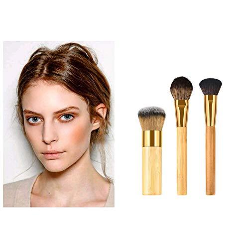 MEIYY Pinceau de maquillage New Fashion 3Pcs Brushes Cosmetic Makeup Bamboo Brush Foundation Powder Eyeshadow Brush Drop Shipping