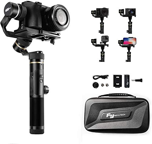 FeiyuTech G6 Plus 3-Axis Stabilizer Gimbal Handheld for Mirrorless Camera Lightweight,Gopro 8/7/6/5 Sony RX0 DJI Osmo Action Camera,Pocket Camera,Smartphone,Official-Authorized