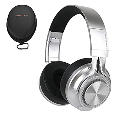 PowerLocus P3 Bluetooth Headphones Over-Ear, [40h Playtime, Bluetooth V5.0] Wireless Headset Hi-Fi Stereo Headphone, Foldable with Mic, Deep Bass, Wired Mode for Cell Phones/Laptop/PC/TV by Powerlocus