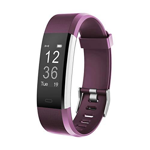 moreFit Fitness Tracker, Slim HR Plus Heart Rate Smart Bracelet Pedometer Wearable Waterproof Activity Tracker Watch, Silver/Purple