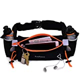 LotFancy Running Hydration Belt FREE 2 Water Bottle (BPA Free), Waist Belt Unisex Comfortable and Breathable, Best Partner for Marathon, Jogging, Cycling, Climbing, Camping and more