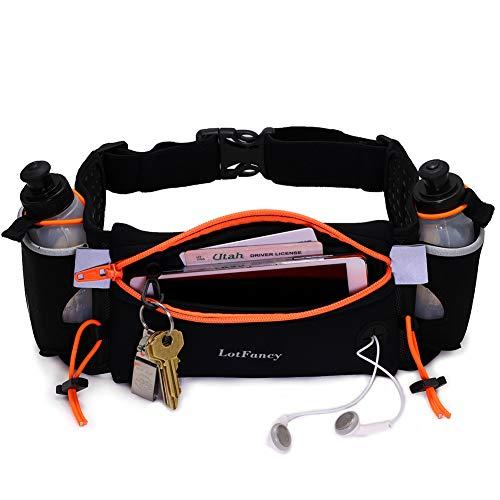 LotFancy Running Fuel Belt with Water Bottle (2x6oz, BPA Free) – Hydration Belt for Women & Men – Runners Waist Pack for Marathon, Race, Fits iPhone 6 Plus, 7, 7 Plus & Other Smart Phones