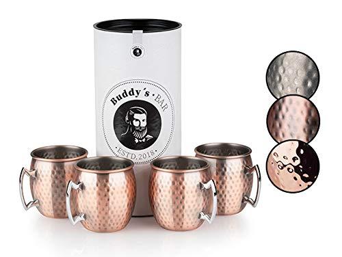 Buddy's Bar - Taza Moscow Mule, set de 4, 4 x 500 ml, tazas de acero con revestimiento de cobre antiguo, apta para alimentos, efecto martillo, tazas para cócteles con caja de regalo