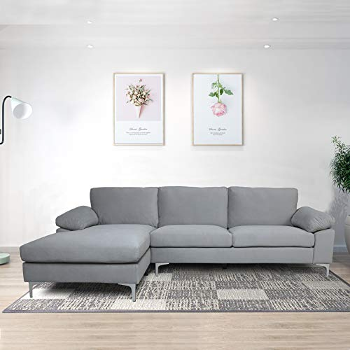 Knowlife Sectional Sofa Couch for Living Room Modern Velvet L-shacked Chaise, Light Gray Couch