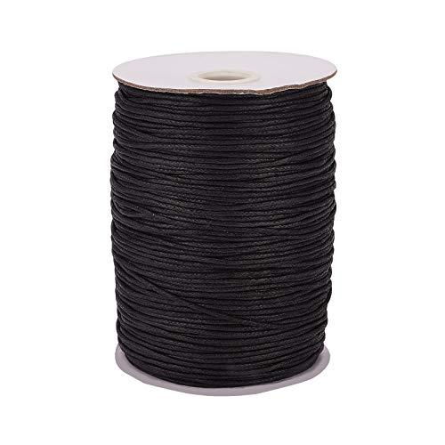PandaHall Cuerda de algodón encerado de 1,5 mm, para pulseras, collares, joyas, suministros de macramé, color negro