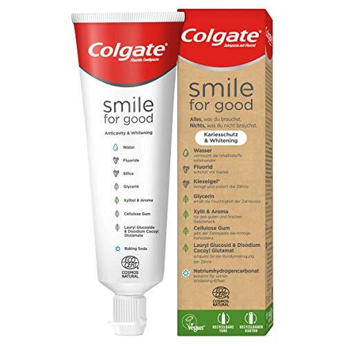 Colgate Zahnpasta Smile for Good Kariesschutz & Whitening, 1 x 75 ml - Whitening-Zahnpasta für einen optimalen Rundumschutz, vegan, recycelbare Tube & Kartonverpackung