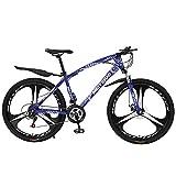 T-Day Bicicleta Montaña Montaña para Adultos Bici De 26 Pulgadas Ruedas De Acero Al Carbono con Freno De Doble Disco Y Tenedor De Suspensión, Multicolor(Size:21 Speed,Color:Azul)