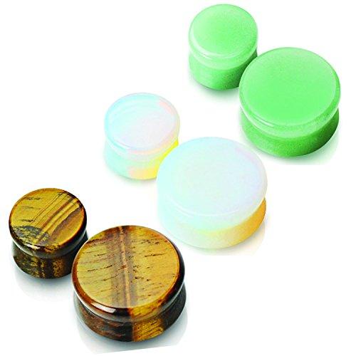 3 Paar 4 mm Halbedelstein in Ear Plugs Opalite, Plugs Tigerauge 6 total & Jade - Körperschmuck
