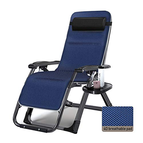 Fauteuils de salon inclinables Chaise Zero Gravity surdimensionnée avec coussin, chaise longue robuste et inclinable pour terrasse pour le camping sur la plage, support de 440lbs