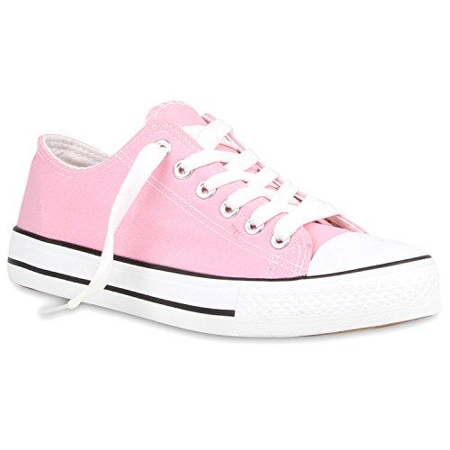 stiefelparadies Sportliche Damen Sneakers Metallic Schnürer Sneaker Low Spitze Turn Blumen Denim Stoff Flats Schuhe 105968 Rosa 37 Flandell