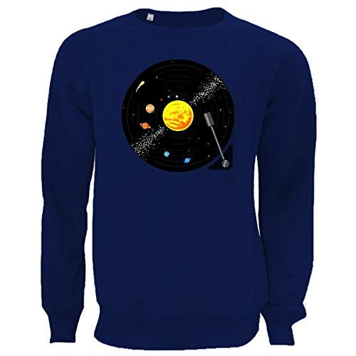 Solar System Vinyl Record Graphic Blue Unisex Pullover Sweater XL