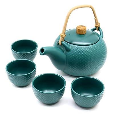 OMyTea Porcelain Japanese Tea Set - Ceramic Tea Pot Set with 4 Tea cups - 27 Oz Teapot & 3.4 Oz Tea Cup (Jade Green)