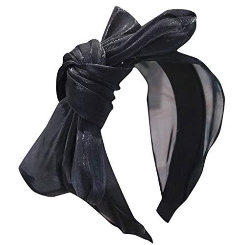WUDUBE Verano 2019 Versión de Color sólido Bronzing Malla Colorido Amplia Brimmed Big Bow Diadema B