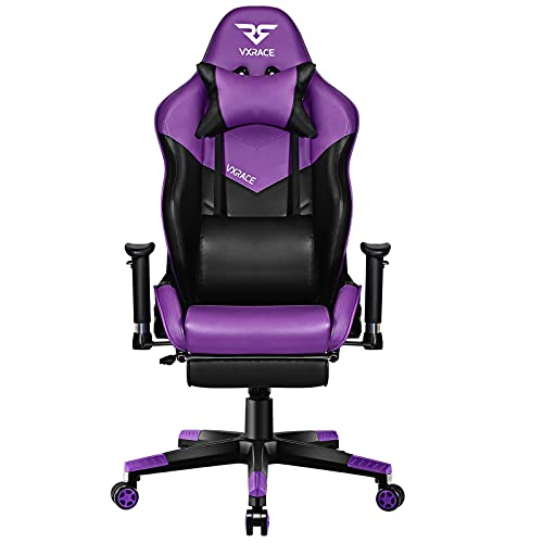 VXRACE Gaming Chair with Footrest luxury Racing Computer Chair for adults Ergonomic Office Desk Chairs High Back Swivel PU Leather Recliner with Lumbar Support Purple