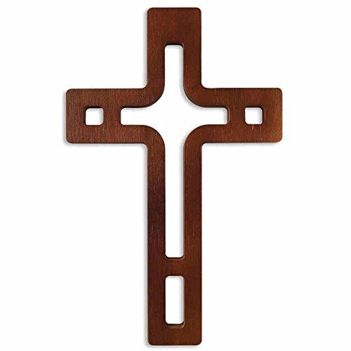 kruzifix24 Devotionalien Wandkreuz moderes Design Holzkreuz Buchenholz dunkel lackiert durchbrochen Schmuckkreuz für die Wand 25 x 15,5 x 1,5 cm
