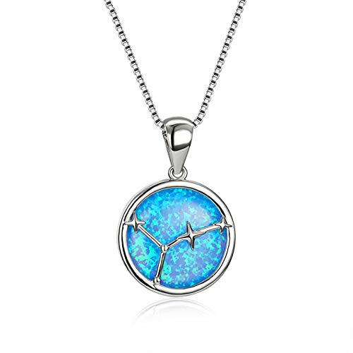 12 Constellation Blue Fire Opal Pendant Necklaces For Women White Gold Necklace Round Birthstone Party Jewelry 48cm