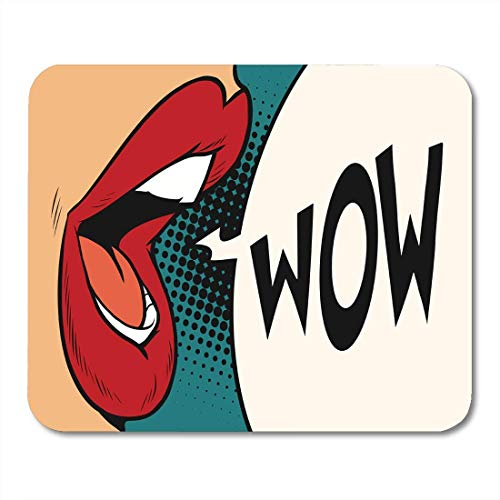 Mouse Pads Red Open Pop Mouth Wow Colorful Comic Word Girl Glamour Lipstick Mouse Pad 9.5' x 7.9' for Notebooks,Desktop Computers Accessories Mini Office Supplies Mouse Mats