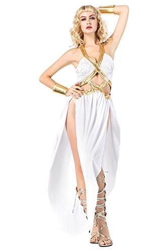 RedJade Damen Sexy Kostüm Göttin Athene Langes Kleid, Armstulpen für Karneval Halloween Fasching Weiß