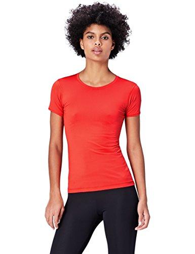 Activewear Camiseta con Panel de Rejilla para Mujer , Rojo (Sport Red), 42 (Talla del Fabricante: Large)