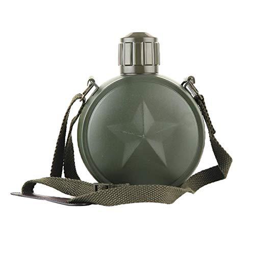 Perfeclan Cantimplora de Botellas de Agua Estilo Militar, Taza para Beber Botellas de Agua de Acero Inoxidable con Correa Ajustable para el Hombro, para Acampar