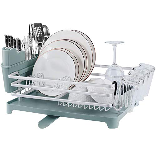 [Upgraded ] Qimh Large Aluminum Dish Drying Rack with Drainboard Set,Rustproof Dish Rack,Countertop Dish Drainer,Adjustable Swivel Spout,Removable Cutlery and Cup Holder for Kitchen Counter (Gray)