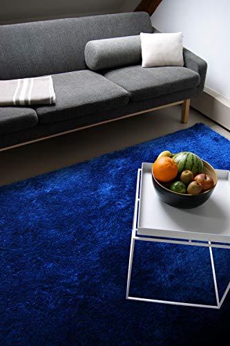 Moderner Teppich Delight blau 200x200cm - edler Designer Teppich mit flauschig weichem Flor
