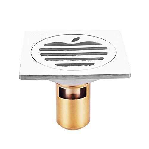 AXWT Drain de plancher en acier inoxydable Cuivre Joint à l'eau de salle de bains à grand débit Drain de plancher désodorisant Balcon Drain de plancher de cuisine (Taille : A)