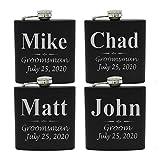 Set of 1, 2, 3, 4, 5, 6, 7, 8 Personalized Black Flask - Custom Engraved Groomsmen, Best Man, Groom Gift Flasks - 3 Lines Style (4)