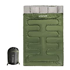 """✅SUPER WARM, SOFT AND COMFORTABLE (32F UP) PERFECT FOR HIKING, CAMPING, TRAVELING AND MORE: Always stay super warm, soft and comfortable condition and bring a sweet night to you above 32F. With an impressive size of 87"""" X 59"""" This sleeping bag sleeps..."""