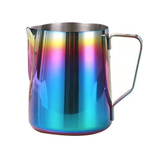 Petty Well Jarra de leche de acero inoxidable estilo japonés, jarra de leche con diseño de guirnaldas de acero inoxidable para espumador de leche al vapor, jarra de leche fácil de leer