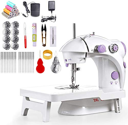 Electric Portable Sewing Machine with Extension Table and Foot Pedal Dual Speed Crafting DIY Tool Set for Beginners