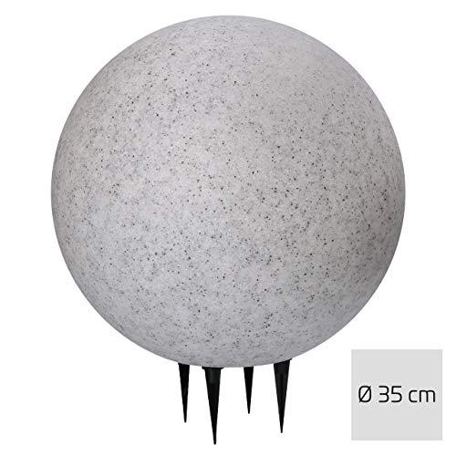 proventa® LED Gartenleuchte in Stein-Optik, Ø35 cm, inkl. E27 LED-Leuchtmittel mit Dämmerungssensor, warmweißes Licht (2.700K), 2m Anschlusskabel mit IP44 Stecker