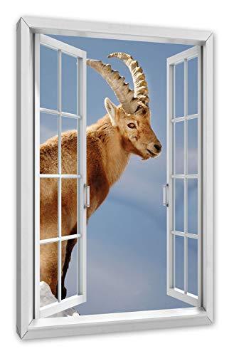 Pixxprint Steenbok in sneeuw, raam canvasfoto | muurschildering | kunstdruk hedendaags 100x70 cm