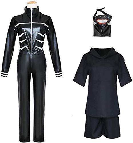 VICTORDOMO Tokyo Ghoul Disfraz Kaneki Ken Cosplay Mono de Batalla Uniforme para Halloween traje de combate en cuero sinttico traje XXL+mscara