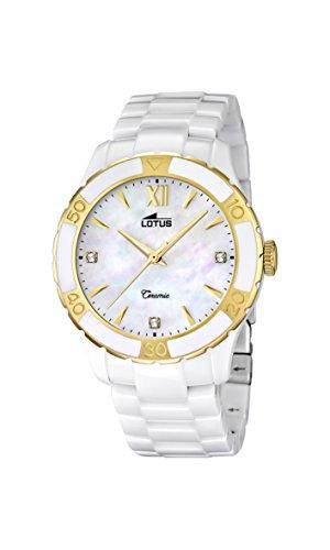 Lotus - Reloj de Cuarzo para Mujer, Correa de cerámica Color Blanco