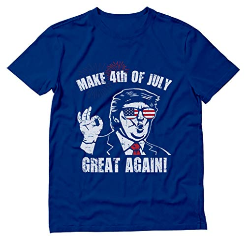 Donald Trump Make 4th of July Great Again Patriotic T-Shirt X-Large Blue