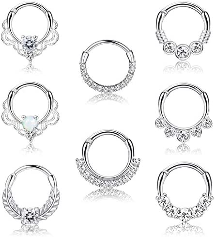LOYALLOOK 8PCS 16G Septum Clicker Ring Stainless Steel CZ Opal Cartilage Helix Tragus Hoop Daith product image