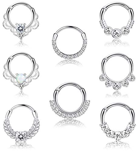 LOYALLOOK 8PCS 16G Septum Clicker Ring Stainless Steel CZ Opal Cartilage Helix Tragus Hoop Daith Earrings Nose Rings Hoop Hinged Segment Clicker Ring Piercing Jewelry 10MM