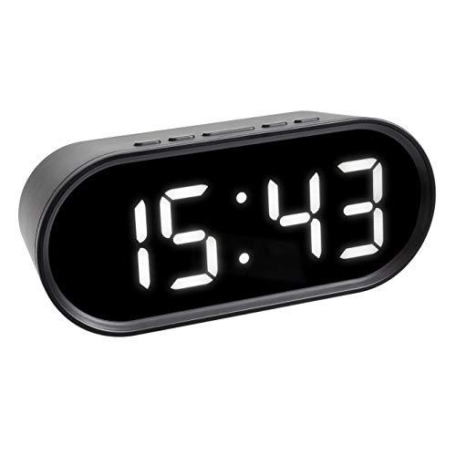 TFA Dostmann Digitale wekker met led-lichtgevende cijfers, incl. binnentemperatuur, instelbare snooze duur, kunststof, zwart, (L) 150 x (B) 50 x (H) 65 mm