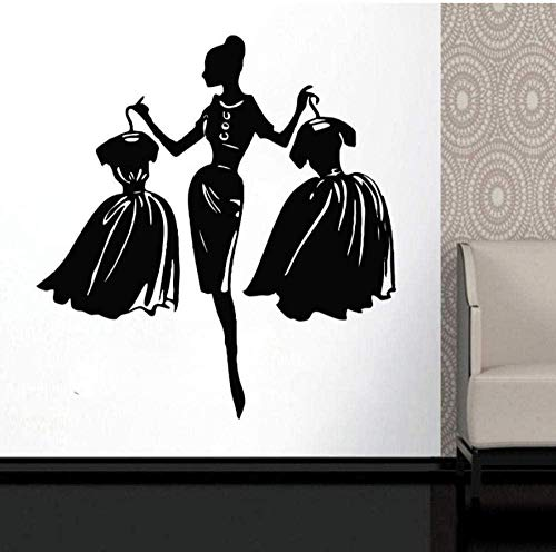 Muurtattoo wandklok wandklok modekleding voor meisjes boutique etalage woonkamer mode dames met jurk zwart 57 x 61 cm