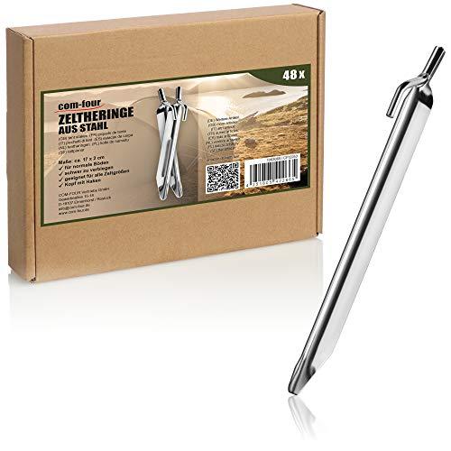 com-four® 48x Zelt-Heringe aus Stahl - robuste Erdnägel in V-Form für Camping und Outdoor - ideal für normalen Boden