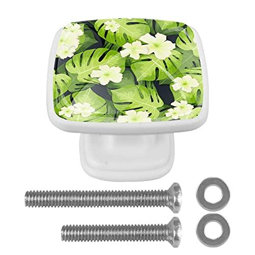 Perillas cuadradas de plástico con diseño lindo de aspecto moderno Flores de hojas de palmera Tirador de puerta para armario, cajón, armario, 4 paquetes 3x2.1x2 cm