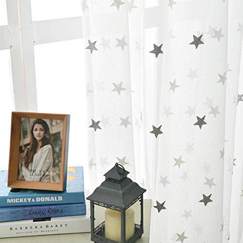 PENVEAT Moderner Stern stickte weiße bloße Vorhänge für Wohnzimmer-Schlafzimmer-Küche Tulle-Vorhänge scherzt Baby-Raum-Tür-Fenster-Vorhänge, graue Sterne, W100xH240cm, Tülle