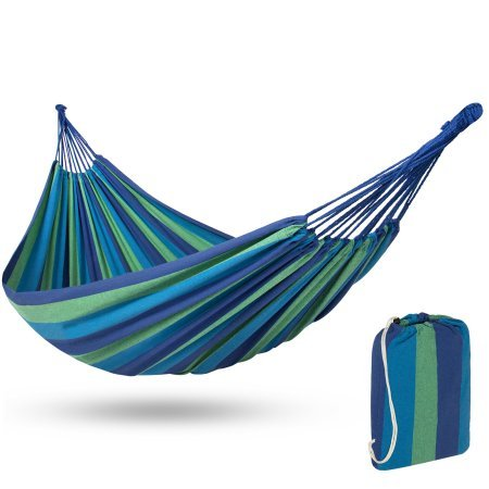 Best Choice Products Portable Cotton Brazilian Double Hammock Bed 2 Person Patio, Camping W/Carrying Bag- Blue