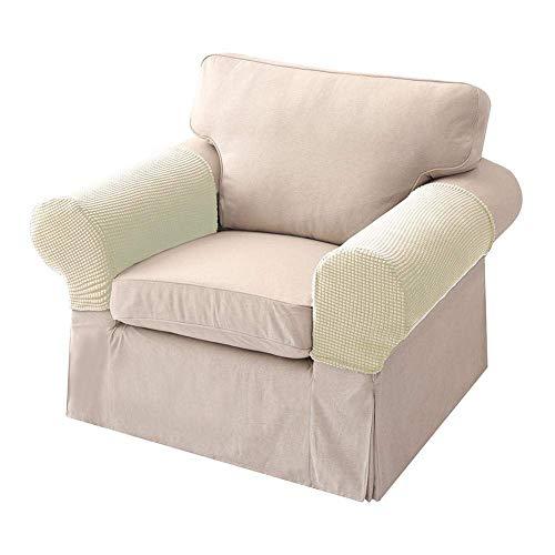 XHNXHN Fundas de reposabrazos elásticas para sillones y sillones, fundas protectoras antideslizantes para sofá o muebles, 2 unidades, color blanco