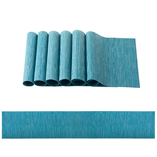 OSVINO Stylish PVC Rectangular Multi-color Bamboo Braided Table Runner Placemats Set Stain Resistant Hotel Home kitchen Dining Mats, blue, Set(1 Table Runner+ 6Pcs Placemats)