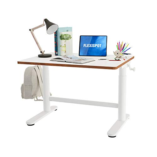 Flexispot Kids Desk Standing Desk Adjustable Height Hand Crank Ergonomic Sit Stand Desk 32 x 24 inch Table for Children's School Home Study White