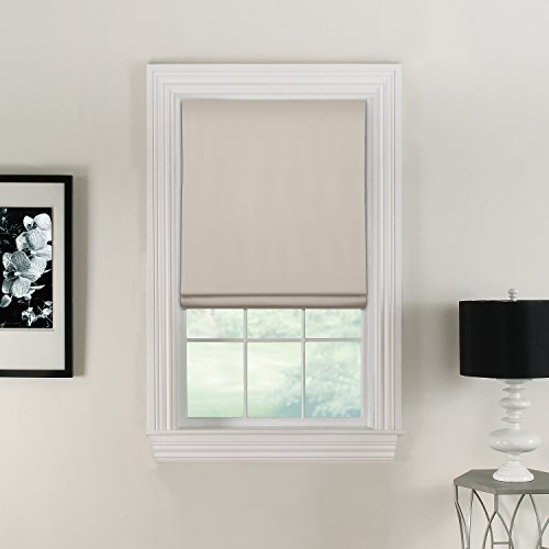 """Furniture Fresh Flat Roman Shades-Blackout, Thermal-(36""""W x 72""""L, Ivory/OffWhite)-Linen & Polyester-Cordless"""
