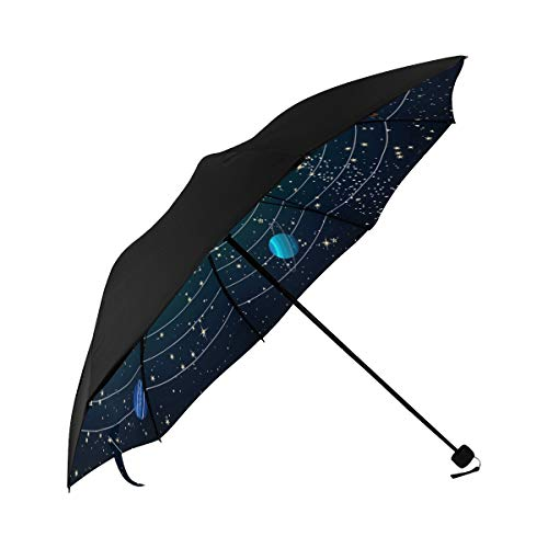 Golf Travel Umbrella Amazing Solar System Space Underside Printing Boy Umbrella Stroller Sun Hat Umbrella Compact Umbrella Print With 95% Uv Protection For Women Men Lady Girl